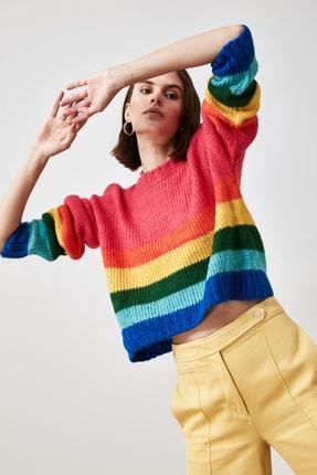 TRENDYOLMİLLA Çok Renkli Renk Bloklu Triko Kazak TWOAW21KZ2216
