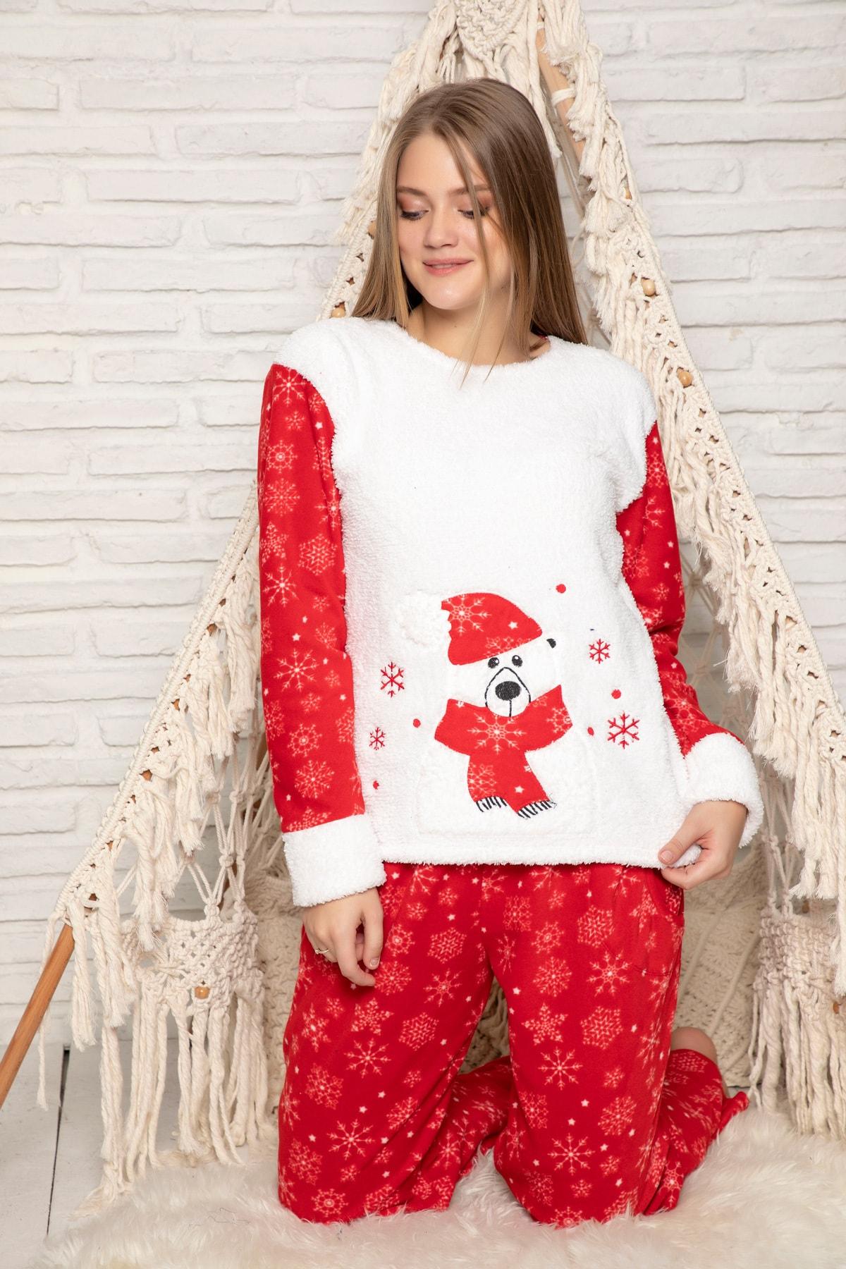 ELİTOL Kadın Kirmizi Welsoft Pijama Takim 1