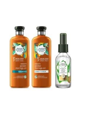 Herbal Essences Altin Moringo Golden Şampuan 400ml + Saç Kremi 360ml + Hindistan Cevizi Ve Aloe Saç Bakım Yağı 100ml