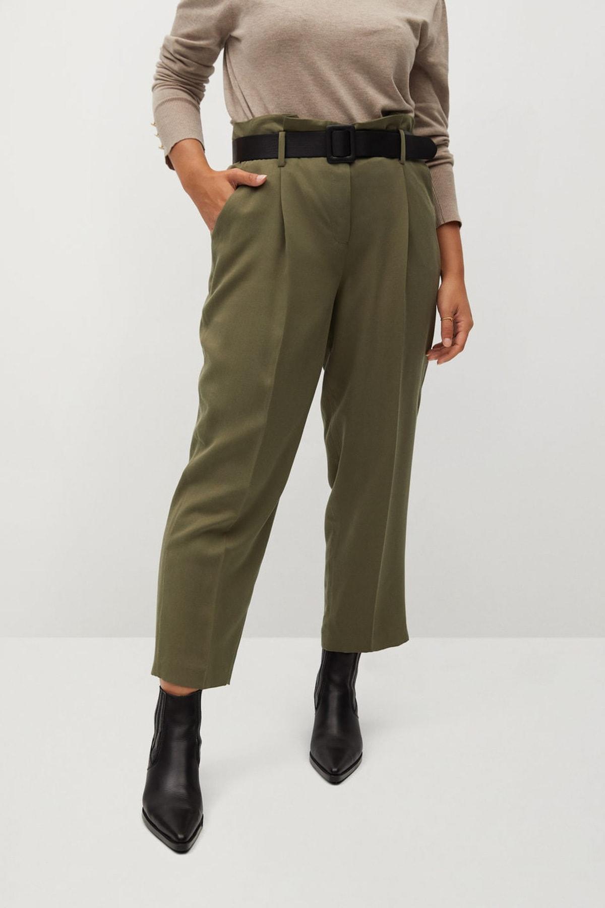 Violeta by MANGO Kadın Haki Renk Daralan Kısa Paçalı Pantolon 77067110 2