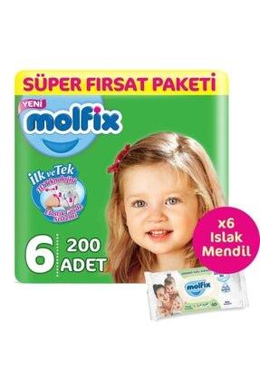 Molfix Bebek Bezi 6 Beden 2 Aylık Süper Fırsat 200 Adet & 6 Paket (360'lı) Islak Mendil