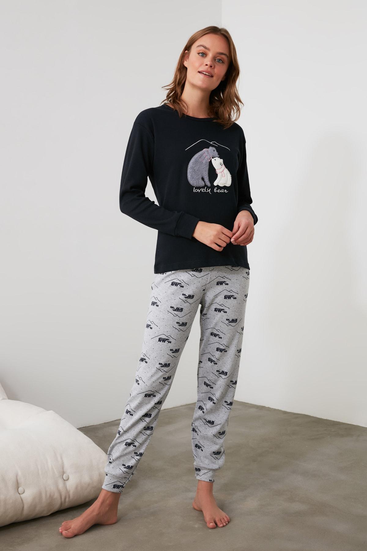 TRENDYOLMİLLA Lacivert Nakışlı Örme Pijama Takımı THMAW21PT0644 2
