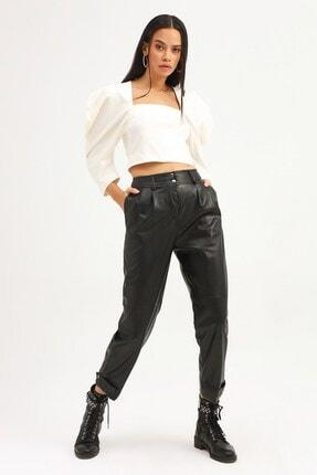 Quzu Kadın Siyah Paçası Çıtçıtlı Deri Pantolon