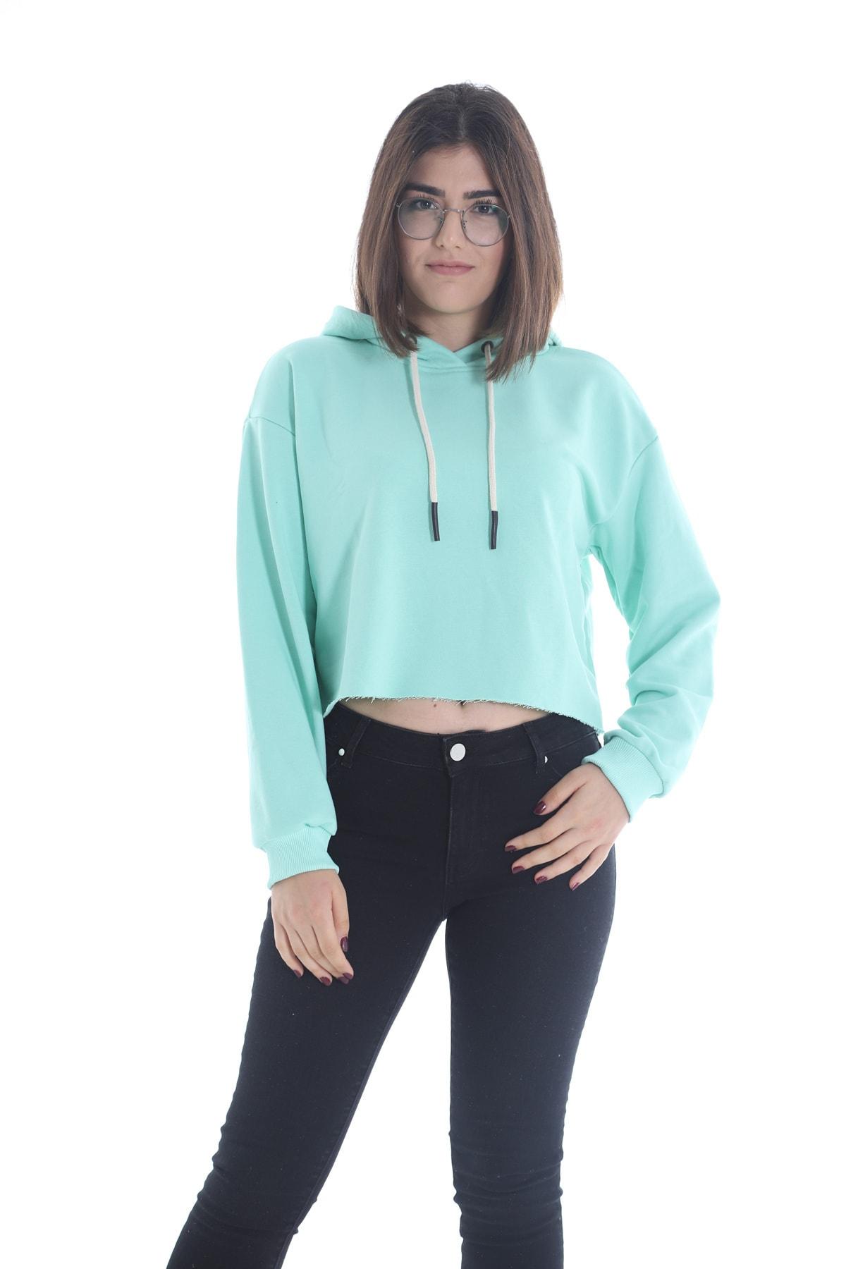 Yelken Kadın Mint Kapüşonlu Crop Sweatshirt Hoddie Ylkn0031 2