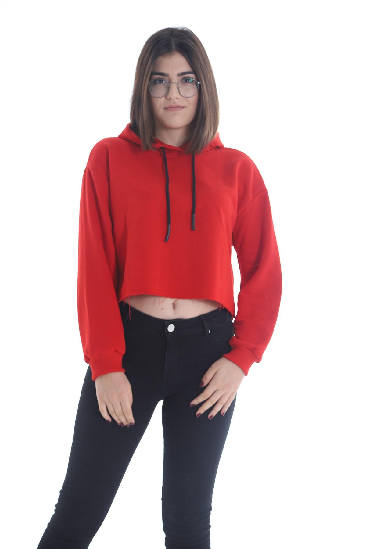 Yelken Kadın Kırmızı Kapüşonlu Crop  Sweatshirt/hoddie Ylkn0031 1