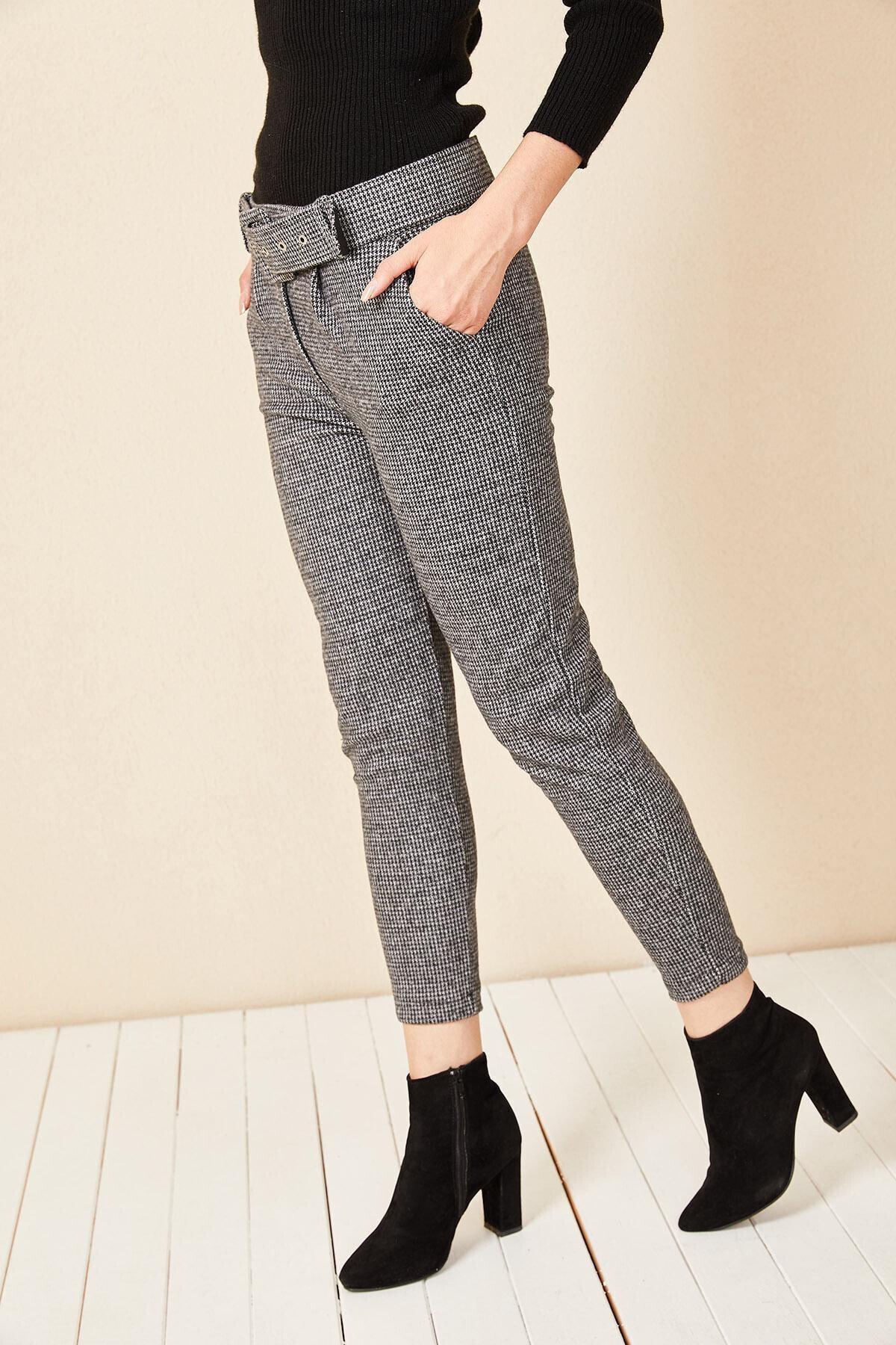 Morpile Kadın Gri Ekose Desen Pantolon 1