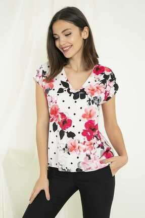 Sateen Kadın Fuşya V Yaka Çiçek Desenli Bluz