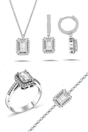 Trend Silver Gümüş Baget Taşlı Pırlanta Modeli Dörtlü Set Kolye Küpe Bileklik Yüzük Seti-18