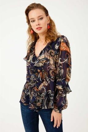Ekol Kadın Lacivert Beli Kuşaklı Fırfırlı Desenli Bluz 03007