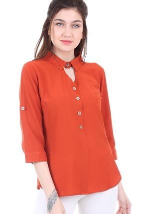 Bigdart Kadın Turuncu Gömlek Yaka Tahta Düğme Bluz 3658