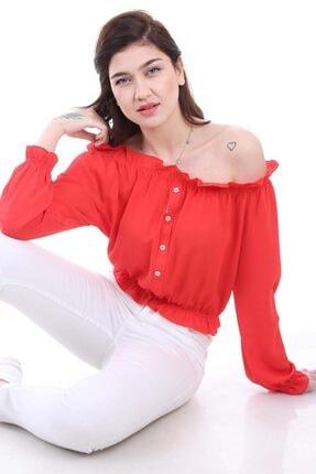 Bigdart Kadın Kırmızı Lastikli Süs Düğmeli Bluz 0356