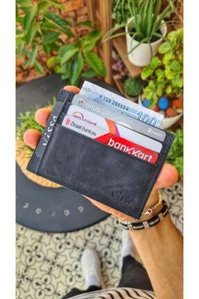 VİSSO 606 Hakiki Deri Kartlık Para Bölmeli Bay Bayan Kartlık Cüzdan Model