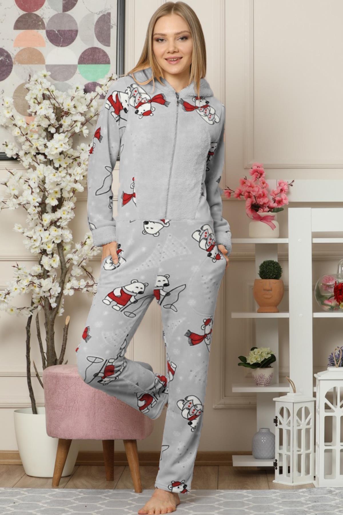 Pijamaevi Gri Bear Desenli Kadın Polar Peluş Tulum Pijama Takımı 1