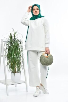 THE RAREBELL Kadın Ekru Yeşil Şeritli Eşofman Takımı 03