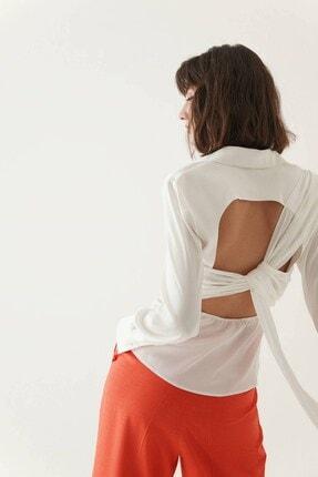 rue. Kadın Ekru Sırtı Drape Detaylı Gömlek