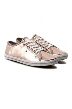 Tommy Hilfiger Kadın Pembe Altın Metallic Non Leather Sneaker
