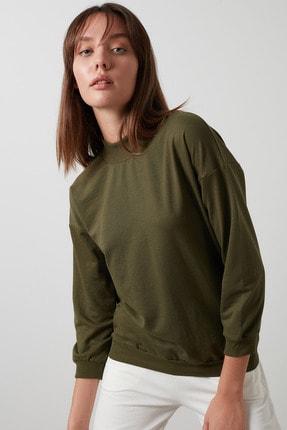 Lela Kadın Haki Dik Yaka Basic Örme Sweatshirt 5863323