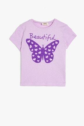 Koton Kids Kız Çocuk Kısa Kollu Pamuklu Simli Baskılı T-shirt 0ykg17486ok