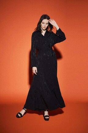 Latifa Kadın Siyah Reem Jakarlı Elbise