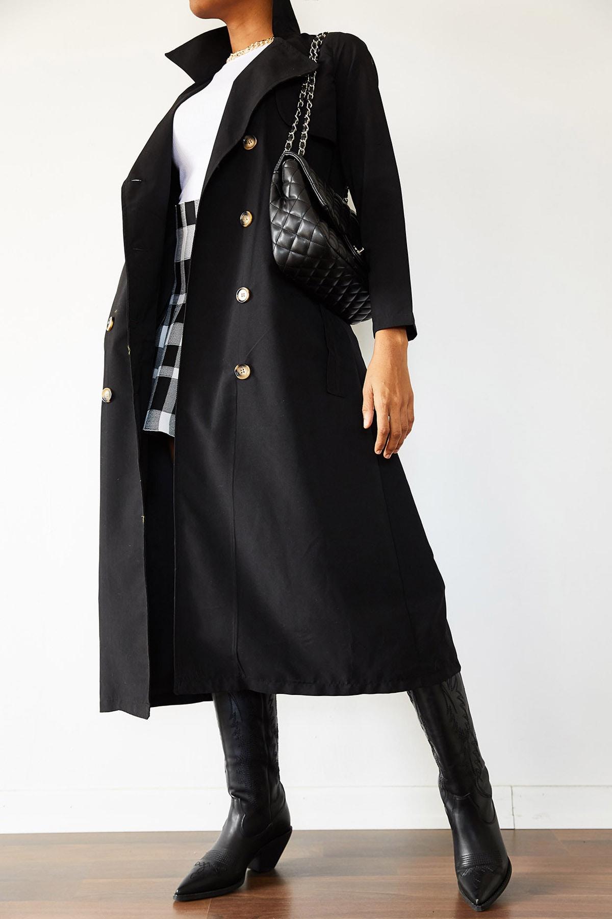 XENA Kadın Siyah Şal Yaka Düğmeli Trençkot 1KZK4-10759-02 1
