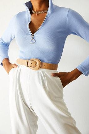 XENA Kadın Buz Mavisi Kaşkorse Fermuarlı Bluz 0YZK8-10566-43