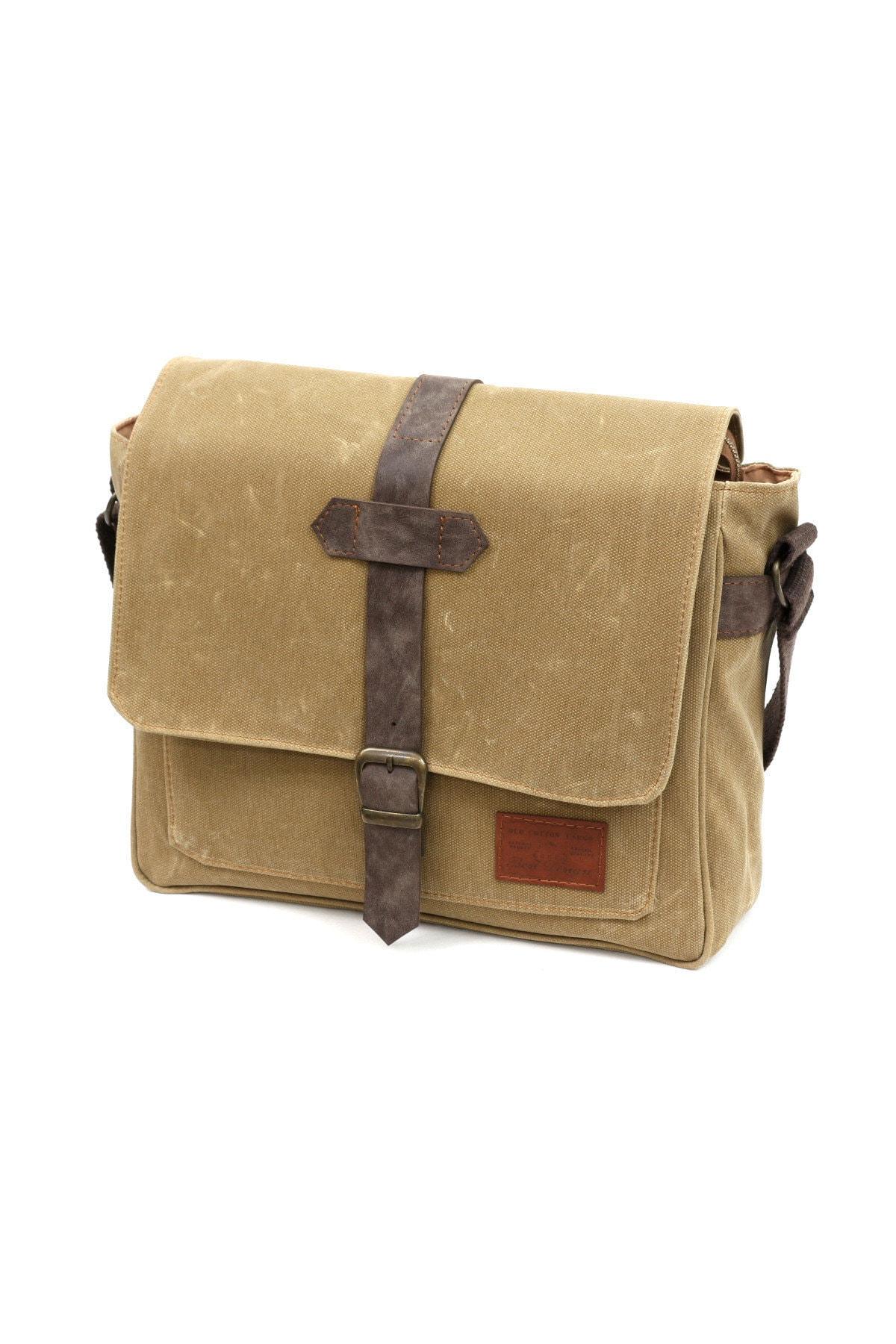 Old Cotton Cargo Su Geçirmez Pamuk Kumaş Laptop Evrak Seyahat Çantası 1