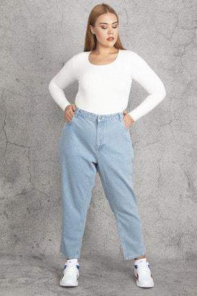 Şans Kadın Mavi Geniş Basen 5 Cepli Kot Pantolon 65N19214