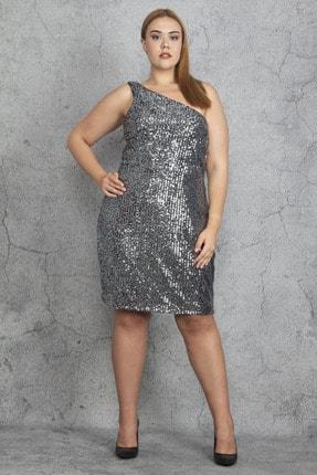 Şans Kadın Gümüş Tek Omuzlu Payet Elbise 65N19198
