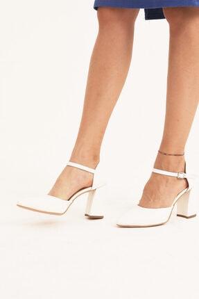 Y&G Kadın Ekru Bilek Bağlı Topuklu Ayakkabı As 60