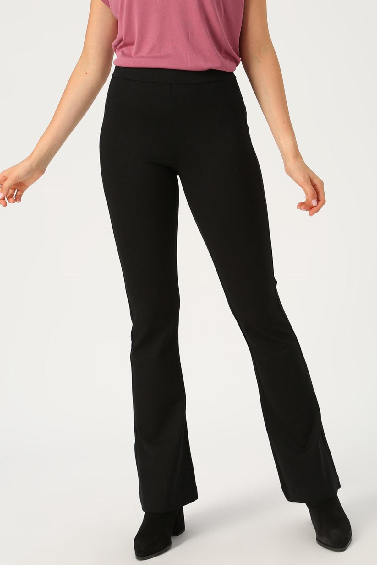 Vero Moda Kadın Siyah Siyah İspanyol Paça Örme Pantolon 10209858 VMKAMMA 2