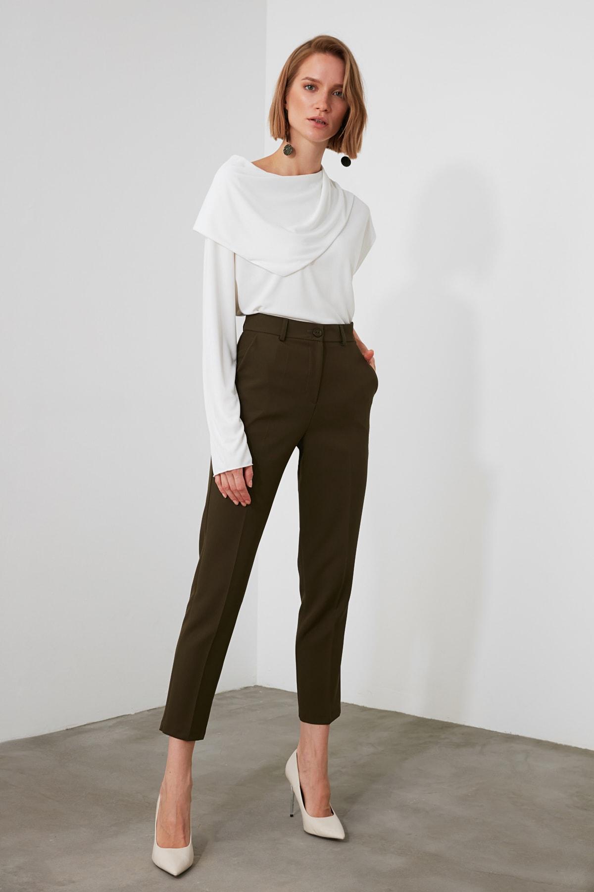 TRENDYOLMİLLA Haki Basic Pantolon TWOSS19ST0038 1
