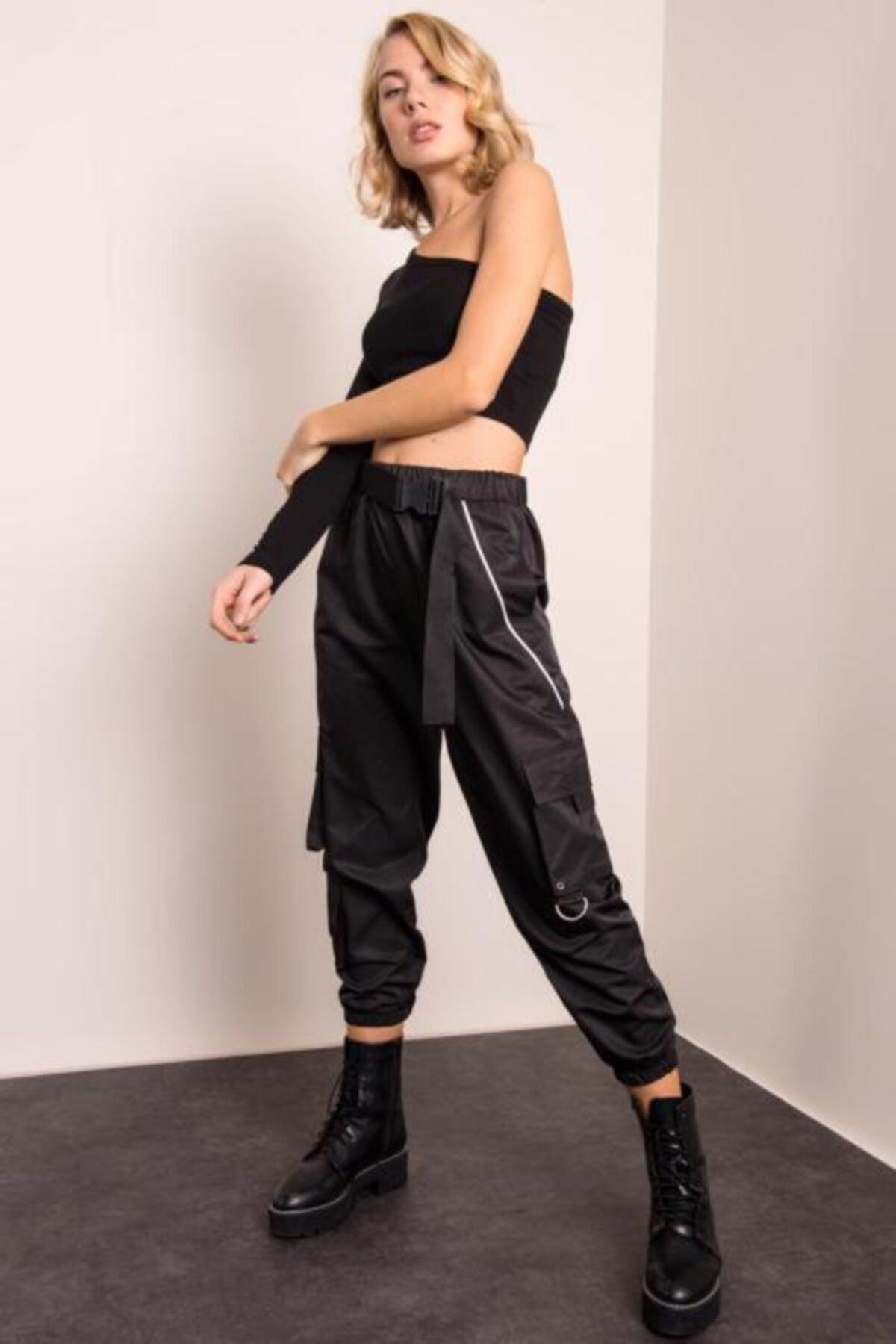 BSL Kadın Siyah Paça Büzgülü Kemer Detaylı Biyeli Pantolon 1