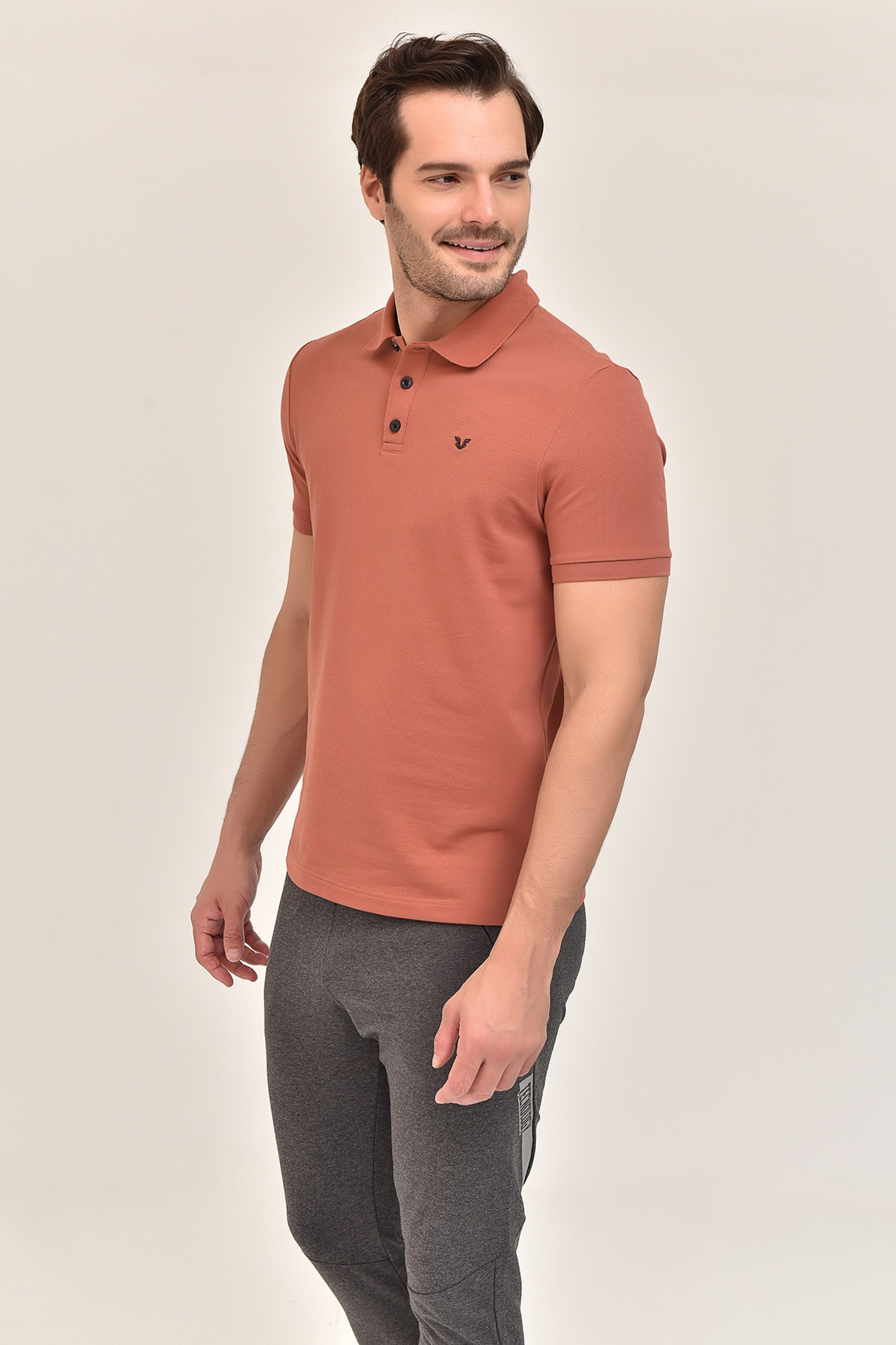 bilcee Kahverengi Büyük Beden Polo Yaka Erkek T-Shirt GS-8983 2