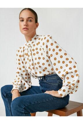 Koton Kadın Beyaz Mandarin Yaka Puantiyeli Uzun Kollu Bluz