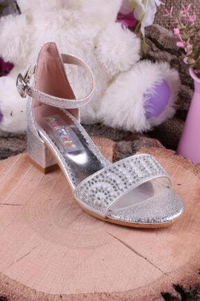 Akıllı Şirin Kız Çocuk Gümüş Bilekten Bağlamalı Topuklu Taş Işlemeli Genç  Ayakkabı
