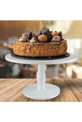 YEKCENTER Ahşap Beyaz Pasta Kek Standı Sunumluk Parti Doğum Günü Düğün Kahvaltılık Çay Kahve Ikramlık