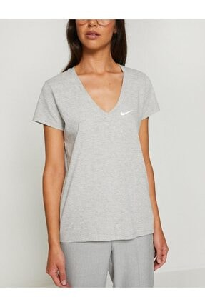 Nike Sportswear W V Yaka Gri Tişört