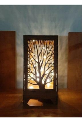 imajlazer Dekoratif Mini Ahşap Abajur Masa Süsü Pilli Peri Ledli Masa