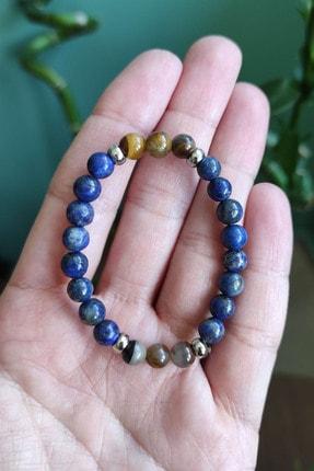 Natural Jewelleryy Lapis Ve Kaplangözü Doğaltaş Erkek Çocuk Bileklik