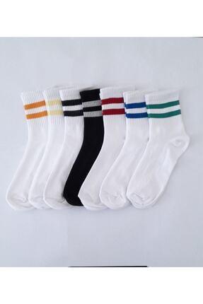 SOCKSHION Unisex Beyaz Çizgili Pamuklu Yarım Konç Çorap 7 Li