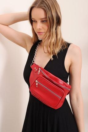 Trend Alaçatı Stili Kadın Kırmızı Zincir Aksesuarlı Çift Gözlü Freebag Çanta ALC-A2275