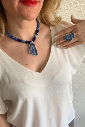 İplik Design Mavi Akik Doğal Taşlı El Yapımı 925 Ayar Gümüş Kolye Ve Yüzük Takı Seti