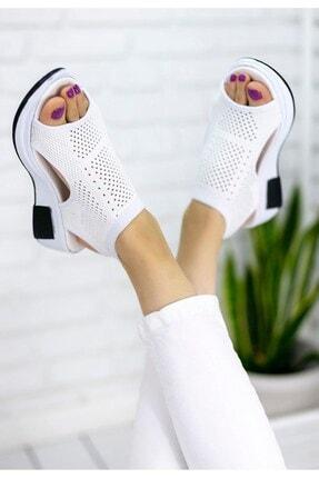 İmerShoes Kadın Likralı Triko Sandalet Beyaz Yüksek Taban Çelik Örgü Rahat Taban