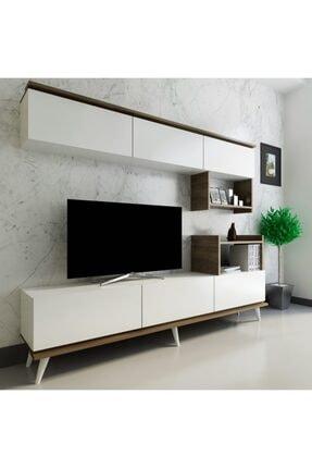 ARNETTİ Hazal Dolaplı Tv Ünitesi Yaşam Odası, Salon, Ve Oturma Odası, Tv Sehpası Beyaz - Ceviz