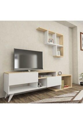 ARNETTİ Hadise Raflı Tv Ünitesi Yaşam Odası, Salon, Ve Oturma Odası, Tv Sehpası Beyaz-safirmeşe