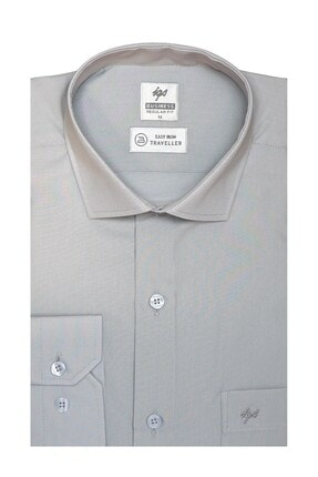 İgs Erkek A.gri Regularfıt / Rahat Kalıp 7 Cm Klasik Gömlek
