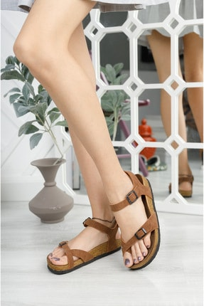meyra'nın ayakkabıları Kadın Taba Mat Çift Toka Sandalet