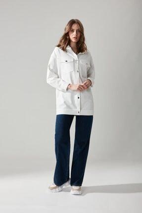 Mizalle Düğmeli Gömlek Ceket Beyaz