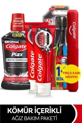 Colgate Beyazlatıcı Diş Macunu 75 Mlx2, Yumuşak Diş Fırçası,ağız Bakım Suyu 500 Ml+fırça Kabı Hediye