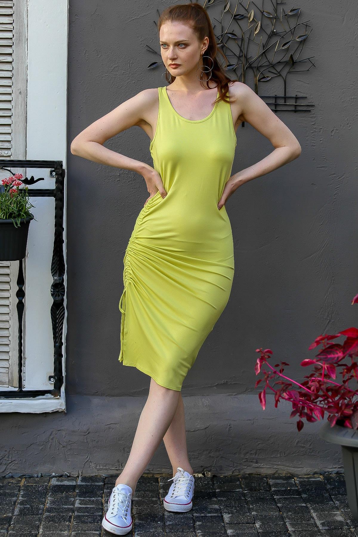 Chiccy Kadın Fıstık Yeşili Casual Askılı Yanı Büzgü Detaylı Yırtmaçlı Midi Elbise M10160000El94783